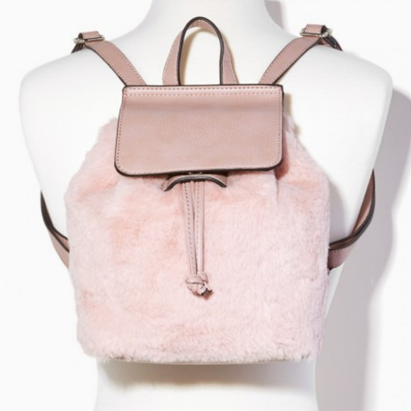 Charming Charlie Handbags - Faux fur Pink Small Backpack Cute for Fall Winter